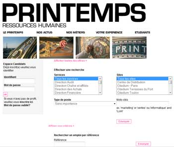 Site recrutement Printemps ressources humaines