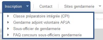 Onglet inscription Gendarmerie